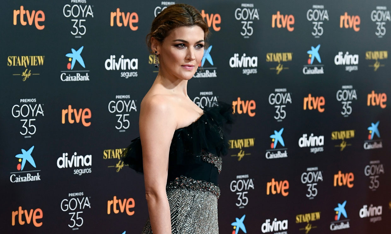 Un look muy Hollywood para Marta Nieto, con tul y deslumbrantes bordados